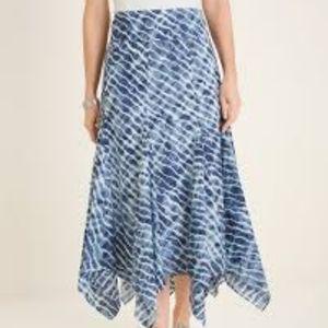 NWT CHICO'S Blue Tie Dye Handkerchief Maxi Skirt